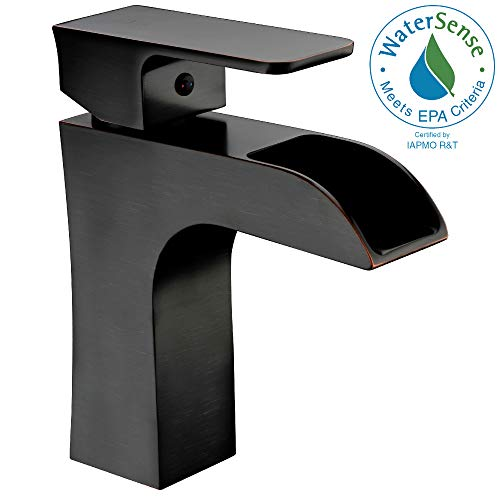 ANZZI Forza Single Hole Single Handle Bathroom Sink Faucet in Commercial Oil Rubbed Bronze | Vessel Basin Sinks Waterfall Deck Mounted cUPC Lavatory Faucet | Valve included | L-AZ019ORB