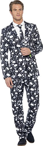 Smiffy's Men's Skeleton Suit, Stand Out Suits, Jacket, pa...
