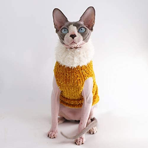 Sphynx Cat Clothes Winter Warm Faux Fur Sweater Outfit, Fashion high Collar Coat for Cats Pajamas for Cats and Small Dogs Apparel, Hairless cat Shirts Sweaters (XL (9.9-13.2 lbs), Ginger) 19