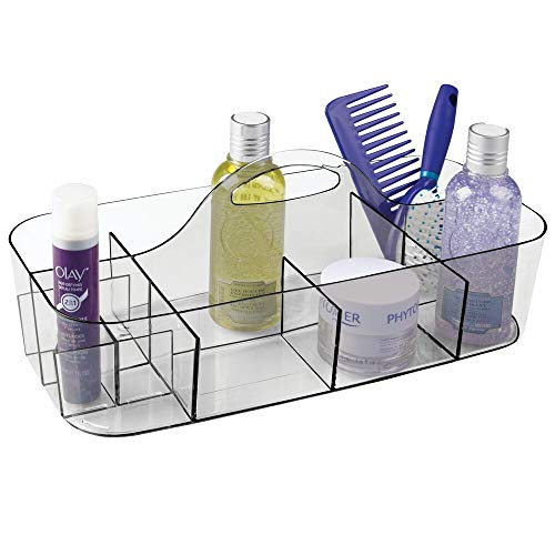 mDesign Plastic Portable Storage Organizer Caddy Tote - Divided Basket Bin with Handle for Bathroom, Dorm Room - Holds Hand Soap, Body Wash, Shampoo, Conditioner, Lotion - Extra Large - Smoke Gray