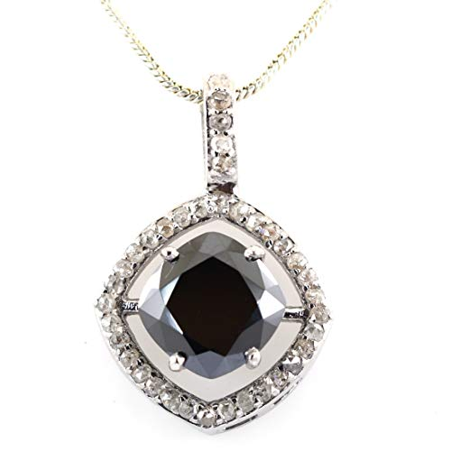 (skyjewels Certified 4.80 Ct Cushion Cut Black Diamond Solitaire with Diamond Accents Stylish Silver Pendant Gift for Birthday)