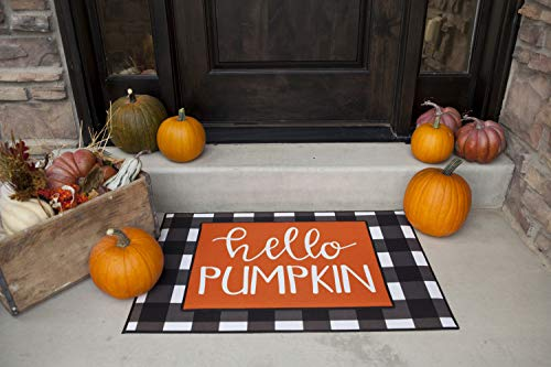 Qualtry Halloween Indoor or Outdoor Doormat Welcome Mat - Personalized Designs Available, Unique Halloween Decor (Layered Doormat, Hello Pumpkin Design) -