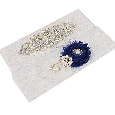 TRLYC Medium White Lace Rhinestone Garter