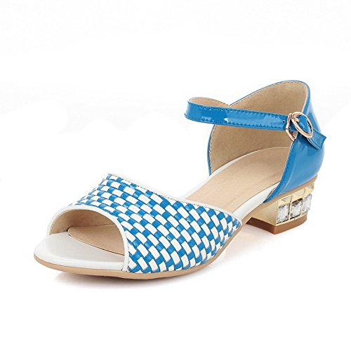 AllhqFashion Womens Checkered Blend Materials Low-heels Open Toe Buckle Sandals Blue TE1HHPn