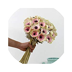 Real Touch Artificial Anemone Flowers Silk artificiales for Autumn Fall Wedding Decoration Fake Flowers Accessories Wreath 17