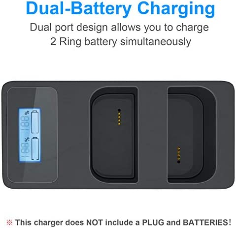 Ring Video Doorbell 2 /& Ring Stick Up Cam Battery Charging Station and 1 Pack 6400 mAh Rechargeable Battery for Ring Spotlight Cam Battery