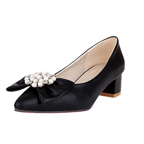Charm Foot Sweet Bows Scarpe Da Donna Con Tacco Medio Grosso Nero