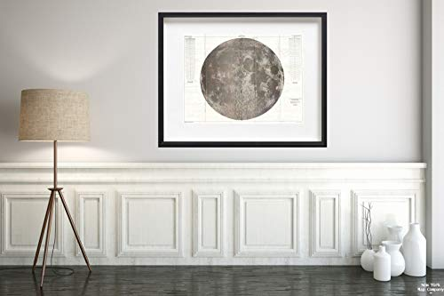 1961 U.S.G.S. Lunar Ray of The Moon (Wall) - Landmark Lunar Map|Vintage Fine Art Reproduction|Size: 18x24|Ready to Frame