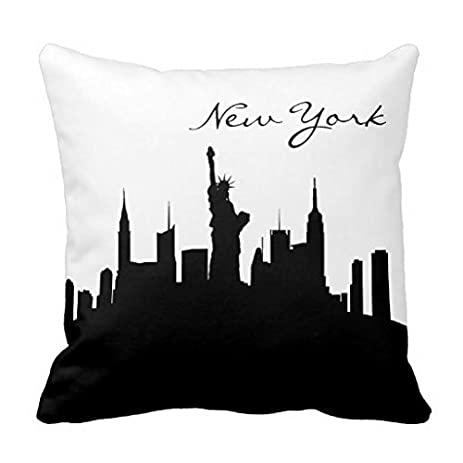 Black and white new york skyline pillow cover 18x18 home decorative square accent pillows