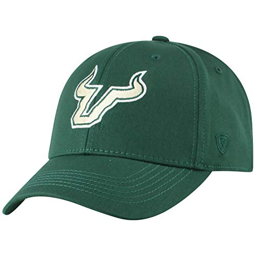 (NCAA South Florida Bulls Men's Fitted Relaxed Fit Team Icon Hat, Dark Green)