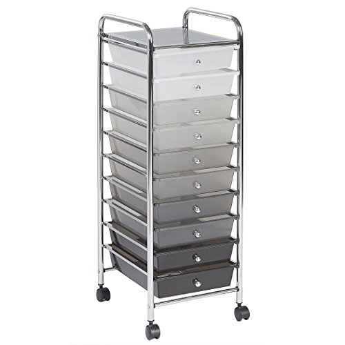 ECR4Kids 10-Drawer Mobile Organizer, Grey Wide Narrow Desk