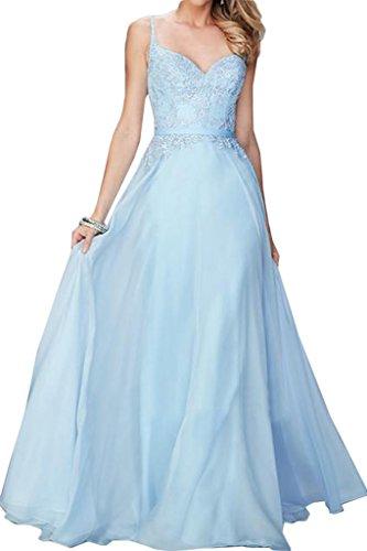 da del Chiffon linea partito pizzo di abito a vestito Prom abito sera ivyd amp; ressing Fest Qualità lungo Donna Alta abito Blau Traeger cRq7S