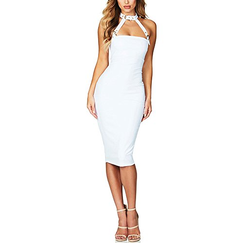 ACALLCAL Women's Sexy Choker Halter Sleeveless Hollow Out Backless Midi Bodycon Club Dress (White, L) (Halter Club)