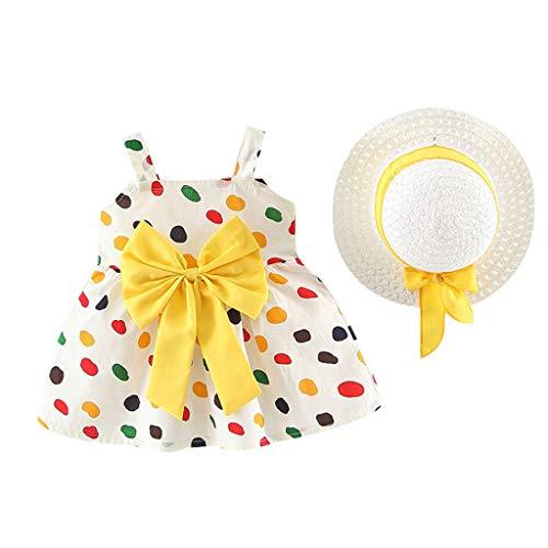 Toddler Little Kids Swing Dress Sleeveless Strap Floral Ruched Bow Dot Princess Dress Clothes Hat Memela (Yellow, 6-12 Months)