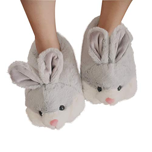 Classic Bunny Slippers | Fuzzy Animal Slippers | Cozy Cute Rabbit Slippers| Easter Bunny Costume Gift| Soft Memory Foam Anti-Slip (8.5-10.5, Grey) -