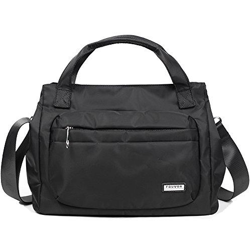Satchel Bag Handbag 280021 Nylon Fouvor Waterproof Crossbody Black C7wqnSd