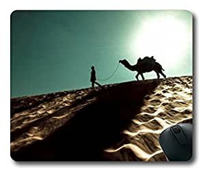 Sallylotus The Camel Man and Desert for Rectangle Mouse Pad by runtopwell