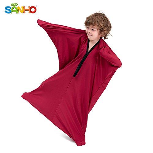 SANHO Dynamic Movement Sensory Body Sock - Updated Version , Wine red (Small)