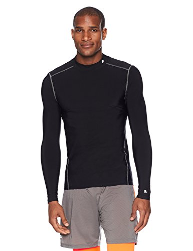 Compression Mock Neck - Starter Men's Long Sleeve Mock Neck Athletic Light-Compression T-Shirt, Amazon Exclusive, Black, Large