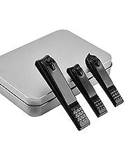 Nail Clipper Set & Nail Trimmer, 3PCS Nail Cutter Set, Sharp Straight & Curved & Slant Cutting Blades, Perfect for Toenail, Fingernail & Ingrown Nail with Metal Case