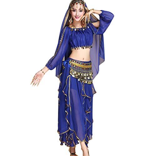 TianBin Danse du Ventre Jupe de Mousseline de Soie pour Femme Longue Maxi Jupes de Ensemble Couleur Unie Saphir#8