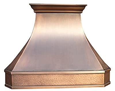 Copper Kitchen Range Hood with High Airflow Centrifugal Blower, includes Stainless Steel 304 Liner (Vent Box) and Baffle Filter, Internal Fan Motor, Lighting and Switch, High CFM, Wall Mount W42 x H30