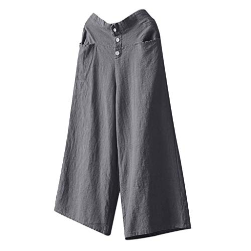 TIFENNY Soft Pants for Women Yoga Pants High Waist Wide Leg Culottes Cotton Linen Trousers Summer Loose Pants Gray