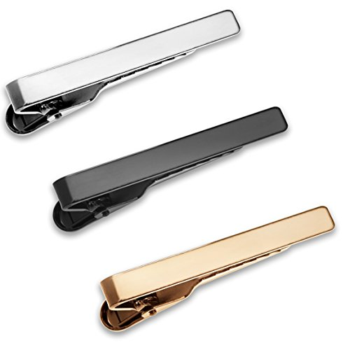 (Puentes Denver 3 Pc Mens Tie Bar Pinch Clip Set Skinny Ties 1.5 Inch, Silver, Black, Gold Tone Gift Box)