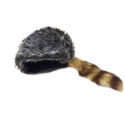 708c0440de9 Nekid Cow USA Authentic Davy Crockett Daniel Boone Real Tail Cap Hat Large