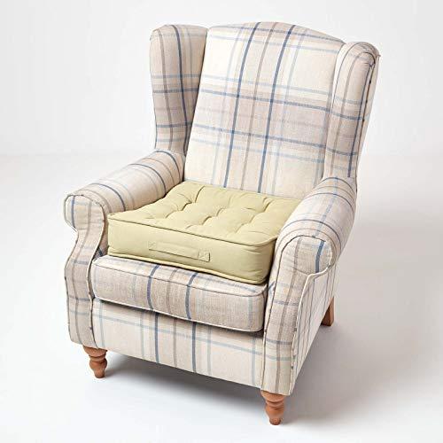 HOMESCAPES Cojín Elevador para sillón, Relleno de poliéster y tapizado en 100% algodón, 50 x 50 x 10 cm Color Verde Salvia