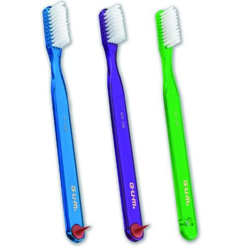 Sunstar GUM 411 Classic Toothbrush with Gum Stimulator, Regular Full Size Head, Soft – Pack of 3
