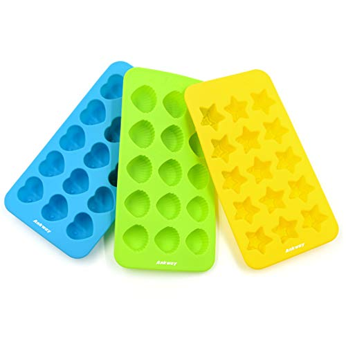 Silicone Chocolate Molds & Candy Molds & Gummy Molds Set of 3 - Ankway Non Stick BPA Free Small Flexible Hearts, Stars & Shells Baking Wax Molds Silicone Ice Cube Trays Mini Ice Maker Molds (15 Cups) by Ankway
