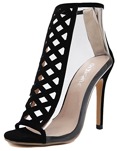 Easemax Womens Sexy Faux Suede Cut Out Stitching Transparent Zipper Peep Toe High Stiletto Heel Sandals Black 5VG2iJTZ7