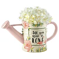 All You Need is Love Floral Pink Flamingo Watering Can Planter BESTChoiceForYou