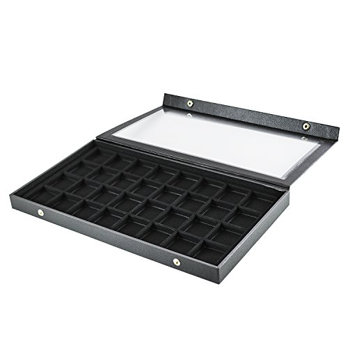 Price comparison product image Black Plastic Earring Jewelry Display Case 32 Slots Clear Top for Home Organization