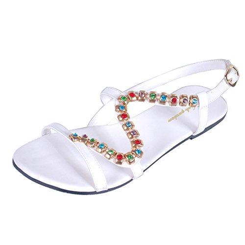 Les Femmes Été Bohême Douces Sandales Perles De Fleur Sandales Plates Chaussures De Plage De Sable Blanc