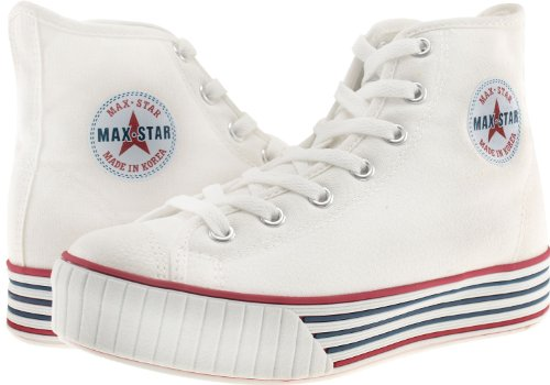 Maxstar  C30-7H,  Damen Hohe Hausschuhe Weiß