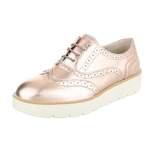 Ital-Design - Zapatos Planos con Cordones Mujer Rosa Gold 62025
