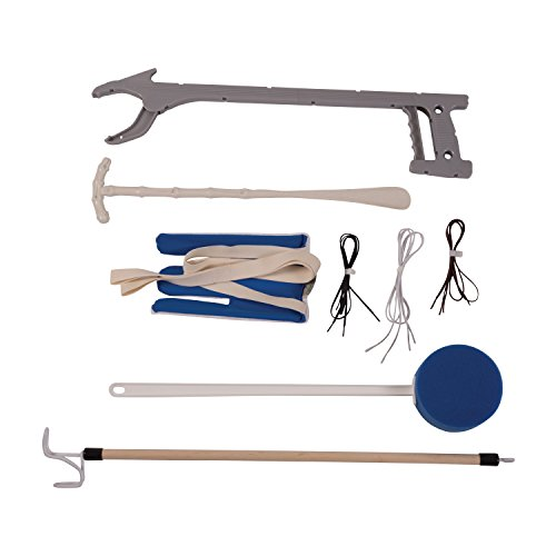 DMI Dressing Kit, Deluxe Dressing Aid, Knee and Hip Replacement Kit, With Sock Aid, No Tie Shoelaces, Dressing Stick, Long Handled Sponge, Reacher Grabber, and Shoe Horn, Blue and White by Duro-Med (Image #1)