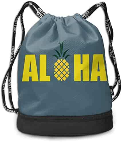 3337a539d Create Magic Aloha Pineapple Drawstring Backpack Sports Athletic Gym String Bag  Cinch Sack Gymsack Sackpack With