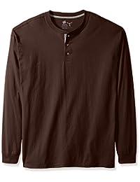 Hanes Mens Men's Long-Sleeve Beefy Henley Shirt Shirt