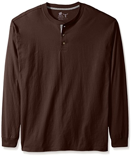 - Hanes Men's Long-Sleeve Beefy Henley Shirt, Dark Truffle, 3X-Large