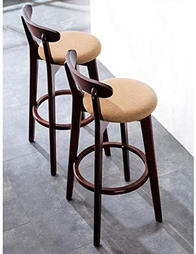 Tabourets En bois massif Comptoir Loisirs Chaises de bar Siège, Cuisine Café Pub Linge Simple Brown hauts tabourets avec dossier Stool