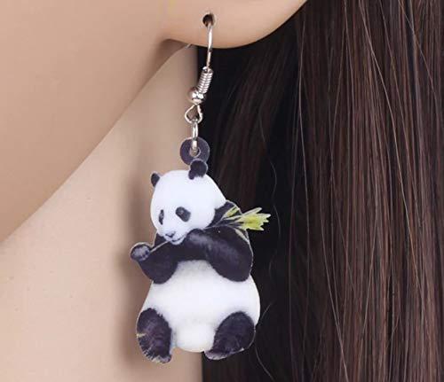 Panda Bear Acrylic Print Dangle Hook Earrings Ginger Lyne Collection