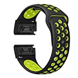 Cywulin for Garmin Instinct Fenix 5 Silicone Band, 22mm Easy Fit Replacement Quick Release Soft Watch Band Sport Strap Loop for Garmin Fenix 5 Plus Forerunner 935 Approach S60 Quatix 5 (Yellow)