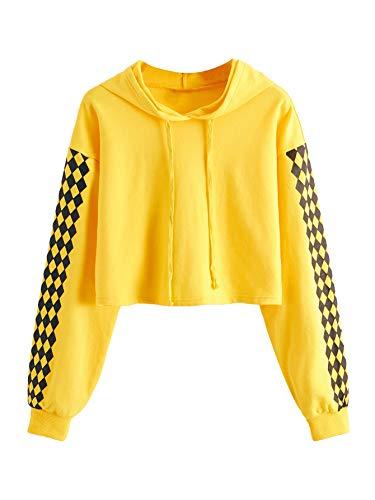 MakeMeChic Women's Hoodie Plaid Crop Top Sweatshirt