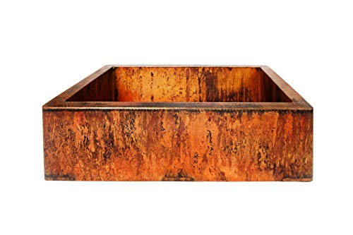 Fire Farmhouse Apron Sink Kitchen Sink - Single Bowl, Designer Patina and Hand Hammered (33