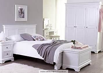 Camden French white painted bedroom furniture double bed 4ft ...