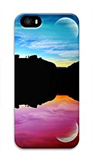 3D PC Case Cover for iPhone 5 Custom Hard Shell Skin for iPhone 5 With Nature Image- Colorful Moon