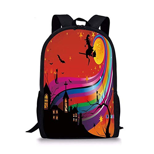 School Bags Halloween,Witch Woman on Broomstick Bats Cat Stars Rainbow Moon Castle Abstract Colorful Decorative,Multicolor for Boys&Girls Mens Sport Daypack